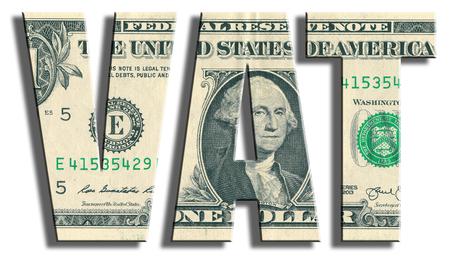 taxpayer: VAT - Value Added Tax. US Dollar texture. 3D illustration.