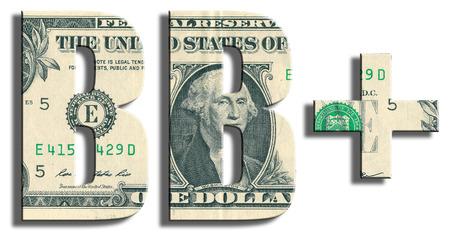speculative: BB+ Credit Rating. US Dollar texture. 3D illustration. Stock Photo