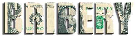 Bribery crime. US Dollar texture. 3D illustration.