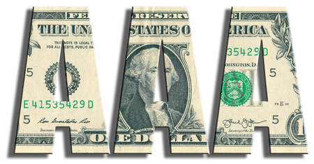 speculative: AAA or Triple A Credit rating. US Dollar texture. 3D illustration.
