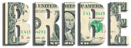 bribe: Bribe. US Dollar texture. 3D illustration.