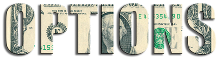 Options, type d'instruments financiers. Texture du dollar américain.