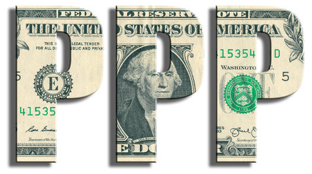 parity: PPP - Purchasing Power Parity. US Dollar texture. Stock Photo