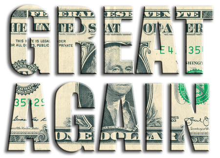 again: Great again. Slogan related to american election. US Dollar texture. Stock Photo