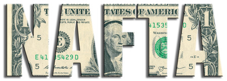 nafta: NAFTA - North American Free Trade Area. US Dollar texture.