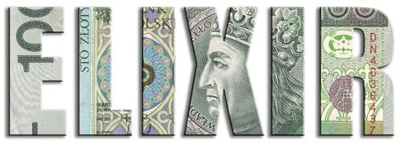 elixir: Elixir - sistema de traslación de dinero interbancario. PLN o zloty polaco textura.