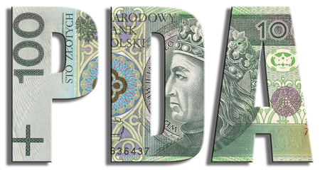 PDA - Prawa Do Akcji, Rights to Shares during Secondary Public Offering on stock market. PLN or Polish Zloty texture.
