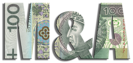 acquisitions: M&A - Mergers & Acquisitions. PLN or Polish Zloty texture. Stock Photo