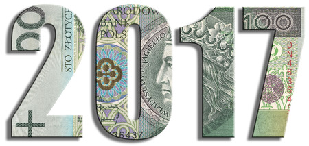 holiday budget: 2017 or New Years Eve. PLN or Polish Zloty texture.