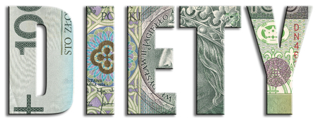 Diety - subsistence or daily expenses in politics. PLN or Polish Zloty texture.