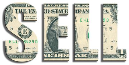 sell: Sell. US Dollar texture. Stock Photo