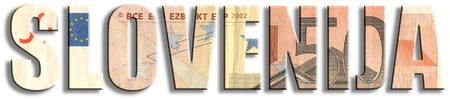 슬로베니아, 슬로베니아어 비문 : 슬로베니아. 유로존 회원. 유로 지폐 질감입니다.