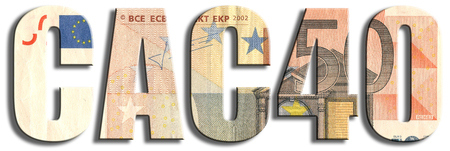 equities: CAC40 - spanish stock market index. Euro banknote texture. Stock Photo
