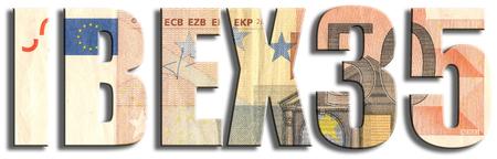 IBEX35 - Spanish stock market index. Euro banknote texture.