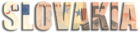 Slovakia. Eurozone member. Euro banknote texture.