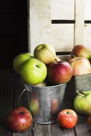 Various apples in metal bucket on a wooden background