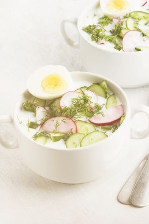 Traditional cold Russian soup with kefir (yogurt), cucumber, radish, egg and parsley on a white background. Toning Фото со стока