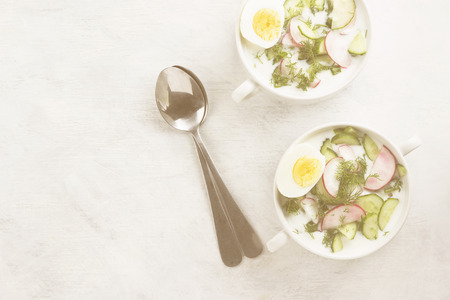 Traditional cold Russian soup with kefir (yogurt), cucumber, radish, egg and parsley on a white background. Top view, copy space. Food background. Toning