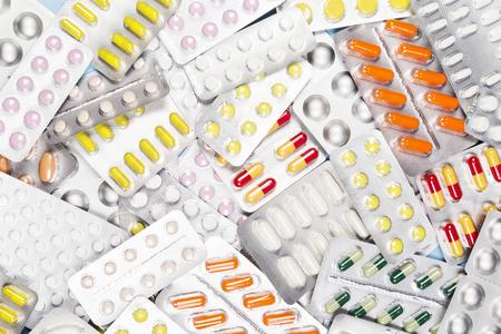 Various medicine pills. Top view