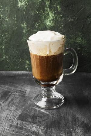 Irish coffee with whisky on dark 스톡 콘텐츠
