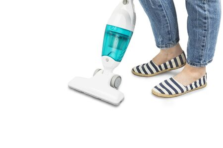 Portable vertical vacuum cleaner, girl vacuum cleaner, isolated on white background