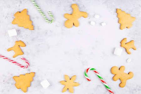 Christmas bakery. Baked homemade ginger gingerbread and sweet Christmas attributes. Top view. Copy space