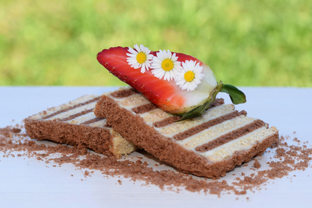 Slices of unbaked layered dessert made of flat biscuits and curd, decorated with daisies and strawberries