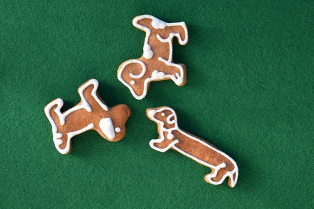 Three different breeds of gingerbread dogs Stock Photo