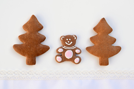 Bear in a forest - original idea with gingerbread cookies Stock Photo