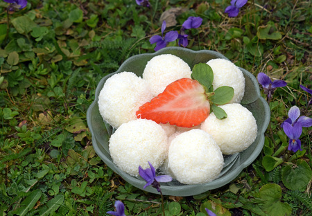 Unbaked homemade coconut balls decorated with strawberry - delicious dessert for garden party Reklamní fotografie