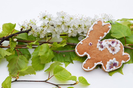 Easter composition with gingerbread and fresh spring vegetation 写真素材