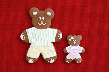 Happy father and daughter - gingerbread bears, Fathers day concept
