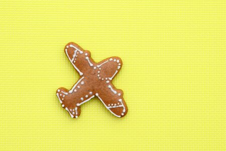 Gingerbread in a shape of airplane on bright yellow