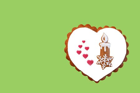 Creative composition with gingerbread candlestick and hearts. Reklamní fotografie