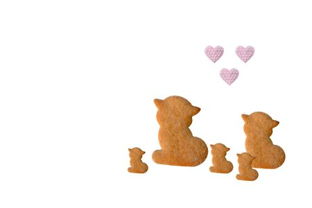 Cats love kittens - gingerbreads isolated on white