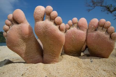 Happy Feet in spiaggia Archivio Fotografico