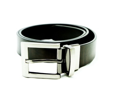 Black leather belt for men in white background Stock Photo