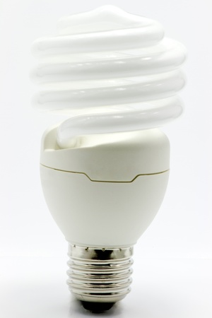 Light bulb on white background photo