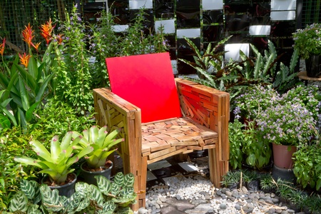 red chair in the garden