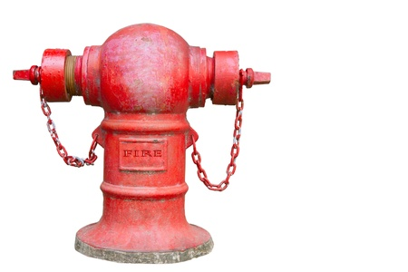 fuoco idrante rosso su sfondo bianco Archivio Fotografico