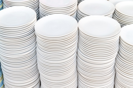 Stack of white plates  photo