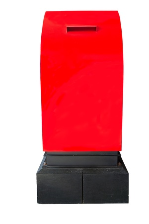red post on white background photo
