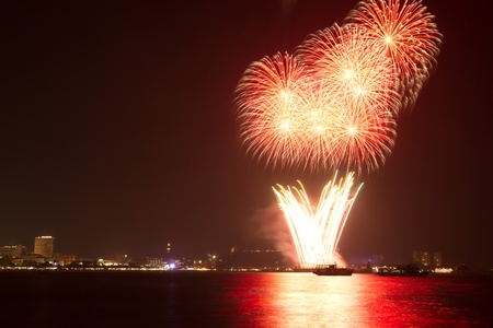 fireworks at Pattaya city, Thailand photo