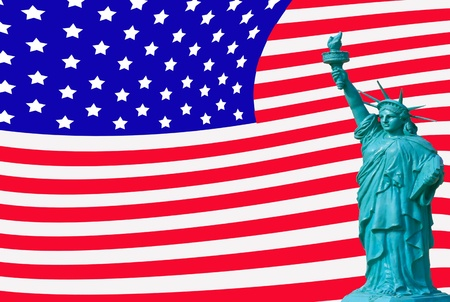 liberty statute on USA flag background photo