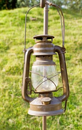 kerosene: oil lamp in the yard Stock Photo
