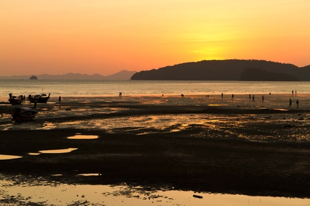 sunset at the Ao-Nang beach - Thailand photo