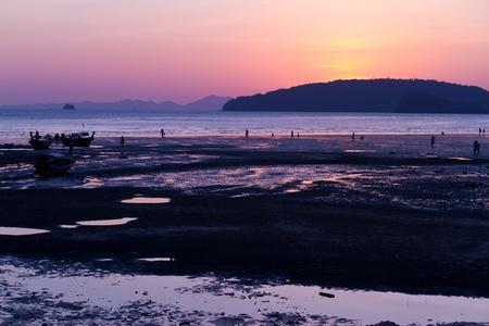 aonang: sunset at the Ao-Nang beach - Thailand Stock Photo