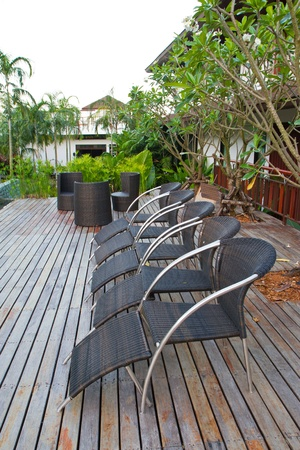 cane sofa: black rattan on the terrece