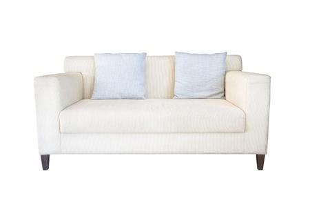 white sofa on white background