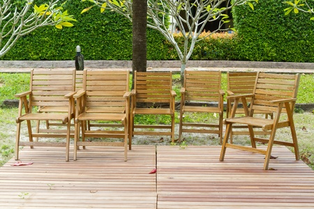 adirondack chair: garden and wooden chairs Stock Photo